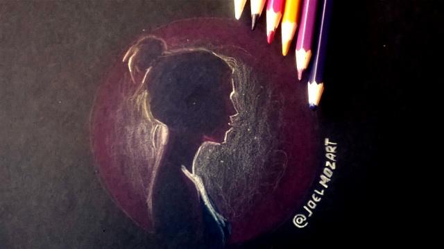 woman backlight black paper color pencil drawing